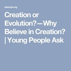 Creation or Evolution?—Why Believe in Creation? | Young People Ask