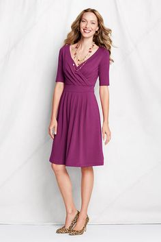 Women's Elbow Sleeve Cotton Modal Fit and Flare Dress from Lands' End