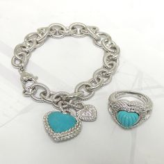 "Judith Ripka Sterling Silver Turquoise Heart ""Previously Enjoyed"" Price: Bracelet $98 // Ring $78"