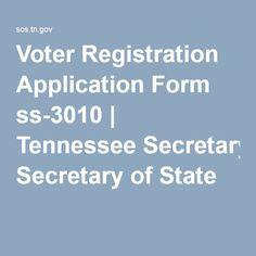 Voter Registration Application Form ss-3010   Tennessee Secretary ...
