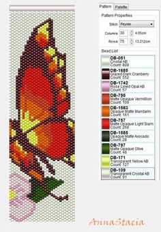 Beaded Butterfly PATTERN Peyote with DB count and colour number free