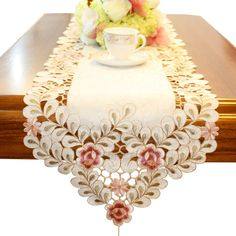 Pink flower embroidered hemstitch cream easter table runner tapestry 84 inch approx