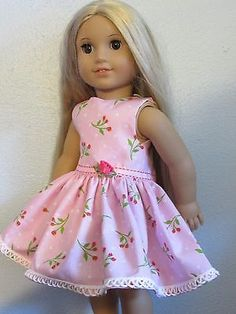 Dress-and-Hair-Bow-for-18-American-Girl-doll-Pink