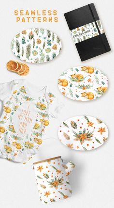 Watercolor Foxes & Flowers by Spasibenko Art on @creativemarket