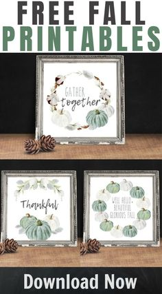 Farmhouse Style Fall Printables – for your seasonal gallery walls, to print as a greeting card, or just because! Fall Crafts, Holiday Crafts, Blue Fall Decor, Fall Pillows, Party Places, Fall Projects, Gallery Walls, Dollar Store Crafts, Fall Wreaths