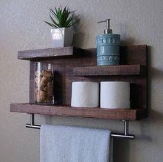 Modern Rustic 3 Tier Bathroom Shelf with 18 Satin Nickel Finish Towel Bar Rustic Bathroom Shelves, Floating Shelves Bathroom, Rustic Bathrooms, Bathroom Modern, Bathroom Mirrors, Bathroom Faucets, Bathroom Ideas, Modern Rustic, Modern Decor
