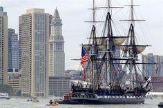 USS Constitution, under sail, Boston Harbor, 2012.