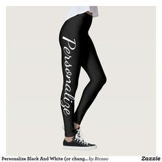 Shop Personalize Black And White (or change text/color) Leggings created by Ricaso. Personalize it with photos & text or purchase as is! Blue Leggings, Colorful Leggings, Personalized Products, Customized Gifts, Text Color, Design Your Own, Leggings Fashion, Dressmaking, Colorful Backgrounds