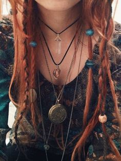 hippie boho red head red hair my face bohemian crystal my photography hippy indian dreads myphotography myface dreadlocks gypsy boho hair boho fashion beads pendant locket boho jewelry red hair dye dread beads boholife