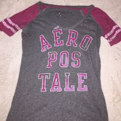 Cute Aeropostale shirt. Cute worn a couple of times. Looks good with anything. Is an x-small but feels like a small. Aeropostale Tops Tees - Short Sleeve