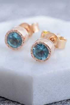 48d5fd595 Delicate sea blue apatite stud earrings handcrafted in 14k gold. Available  in 14k yellow,