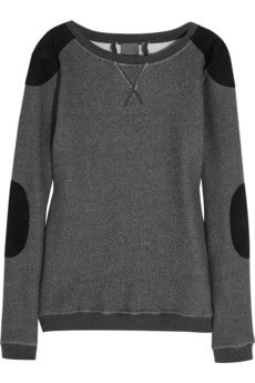 Lot78 Suede-trimmed cotton sweatshirt | NET-A-PORTER