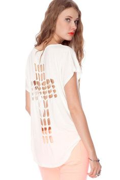 Cross Eyed T-Shirt in Ivory $38 at www.tobi.com im sure i CAN reproduce this myself