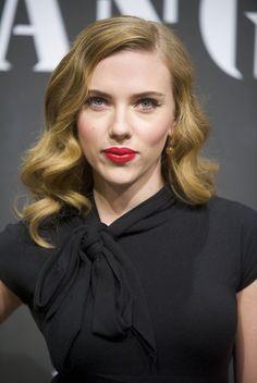 Scarlett Johansson black blouse green eyes light brown old hollywood hair style red lips gold earrings
