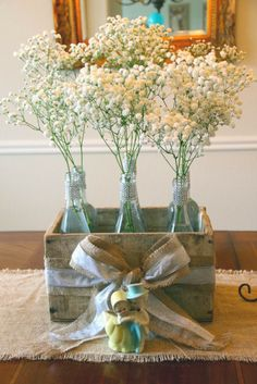decorating wine bottles for bridal shower   Wine Bottle with Baby's Breath Table Centerpiece
