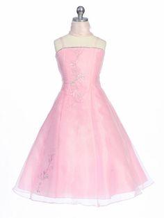 Pink Flower Girl Dress - Organza A-Line Dress w/ Shawl