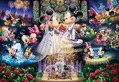 Disney Minnie Mouse and Mickey Mouse Wedding Party 2000 pcs (small pieces) 51 x 73.5 cm Gyutto Size Series Mickey Minnie Mouse, Photos Mickey Mouse, Mimi Y Mickey, Mickey And Minnie Wedding, Mickey Mouse And Friends, Wedding Disney, Disney Kunst, Art Disney, Disney Collage