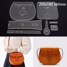 Leather Craft Clear Acrylic shoulder bag handbag Pattern Stencil Template DIY
