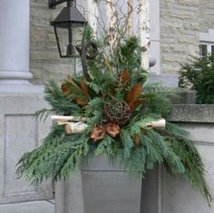 Decorating With Urns {Christmas Edition} Outdoor Christmas Porch Decorations Gardening : Christmas Urn Christmas Urns, Outdoor Christmas Decorations, Country Christmas, Winter Christmas, Christmas Home, Christmas Wreaths, Christmas Ideas, Christmas Ornament, Primitive Christmas