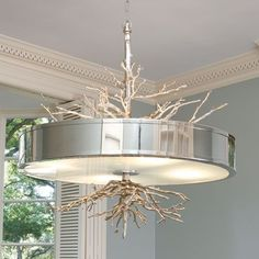 Nickel Twig Four Light Pendant Global Views Drum Pendant Lighting Ceiling Lighting
