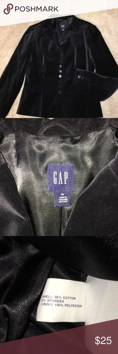 Gap Black Velvet Blazer Size 10 Beautiful Blazer by Gap!  Nonsmoking home.  Has 4 buttons on the sleeves, & 10 down the front.  Has some Stretch to it so it wears very comfortable! Open to offers! GAP Jackets & Coats Blazers