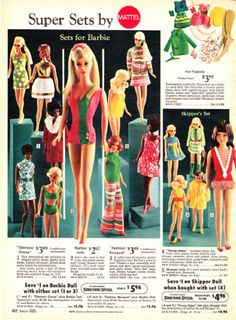 Vintage Barbie board game with BOB  KEN  TOM  and POINDEXTER as     Vintage Mattel Barbie        Sears Wish Book   Christmas toys   Super sets for Barbie   Skipper    lots of great mid century outfits in fantastic bold