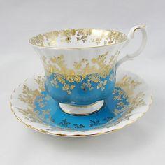 Royal Albert Blue Regal Series Tea Cup and Saucer, Vintage Bone China, Blue Tea Cup