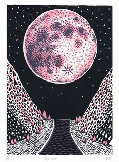 PINK MOON - Dionne Kitching Illustration