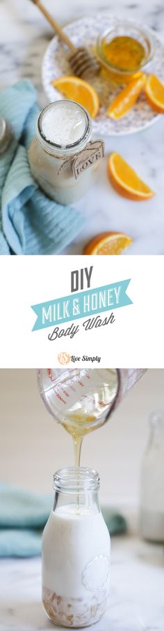 Super luxurious homemade MILK AND HONEY BODY WASH. You only need five simple ingredients and a few seconds to make this homemade body wash!