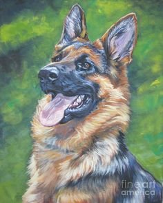 Mixed Media german shepherd Art | German Shepherd Head Study Painting