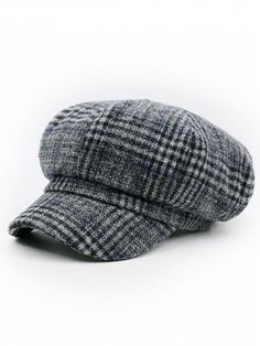 Houndstooth Pattern Embellished Newsboy Hat - PATTERN F