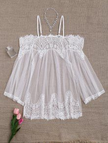 Mesh Cami Lace Panel Babydoll With Panties - White - Shoproads Lace Babydoll, Babydoll Lingerie, Lingerie Sleepwear, Bohemian Style Clothing, Love Clothing, Bridal Dresses, Flower Girl Dresses, Lace Nightgown, Pretty Lingerie