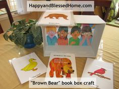 FREE printables to create your own Brown Bear book box - great for teaching colors and animals and creating an animated story time from HappyandBlessedHome.com #FREEprintables #PreschoolReading