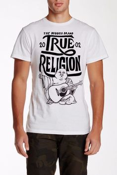 Men TRUE RELIGION Buddha Crew Graphic Logo T-shirt Top White Black S,M