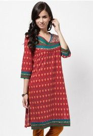 3/4Th Sleeve Printed Red Kurta