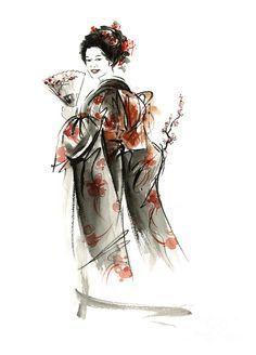 Geisha Smile. Painting by Mariusz Szmerdt