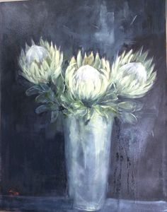 White king proteas. Oil on canvas