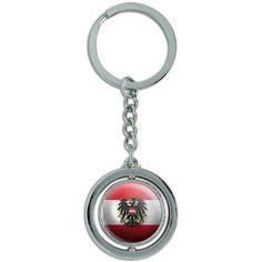 Austria Flag Soccer Ball Futbol Football Spinning Round Metal Key Chain Keychain Ring, Silver