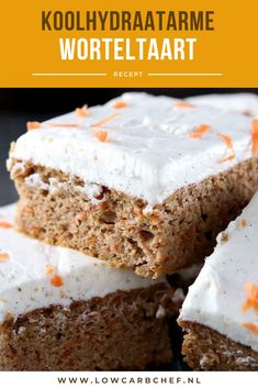 nl - This low-carbohydrate carrot cake with cream cheese icing is delicious to eat with a cup of coffee - # Super Healthy Recipes, Healthy Desserts, Low Carb Recipes, Dutch Recipes, Atkins, Baking Bad, Gluten Free Donuts, Sweet Pie, Sweets Recipes
