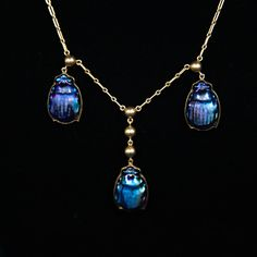 Tiffany Favrile Scarab Beetle Necklace, ca. 1915