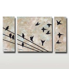 Birds on a Wire Limited Edition Signed Print -- Neutral Colors -- Set of Three Prints -- 12 x 20 -- Only 50 Signed Available