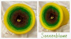 Sonnenblume: Hochbauschacryl 6 Farben: marone kakao grün apfelgrün gelb kanariengelb