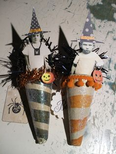 HALLOWEEN Altered Art Paper Mache Cone Witch Ornaments Set of 2. $12.99, via Etsy.