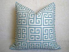 Designer Decorative Greek Key Pillow - Squares - Light Blue and Cream - 18 inch - BOTH SIDES - Decorative Pillow - Throw Pillow. $28.00, via Etsy.