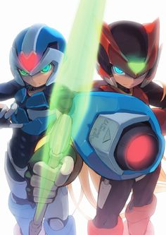 Mega man and rock man zero Game Art, Fighting Robots, Capcom Art, Geeky Wallpaper, Mega Man, Video Game Art, Game Character, Mega Man Art, Anime