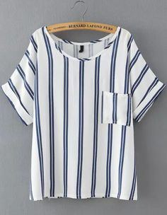Blue Vertical Stripe Pockets Loose T-Shirt -SheIn(Sheinside)