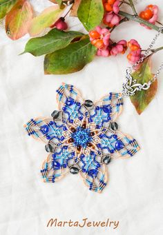 Snowflake mandala necklace beaded star lotus by MartaJewelry
