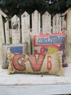 by PotatoBoutique.etsy.com  COOL..Potato sack Outdoor pillows..loves it