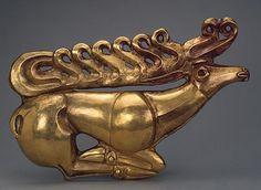 Naschitnaya badge as a figure of a deer  about 600 BC. Oe.  Scythian culture  Kostroma Kurgan 1, Zakubane, village Kostroma, Russia  Gold, casting, stamping  Source: hermitagemuseum.org