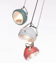 vintage headlight in aqua – hanging lamp – spotlight - industrial lighting Lighting Concepts, Lighting Design, Industrial Lighting, Vintage Lighting, Luminaire Vintage, Aqua, Cafe Racer Build, Led Ceiling, Looks Vintage